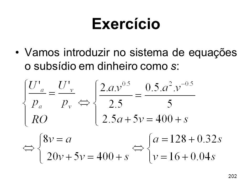 202 Exercício Vamos introduzir no sistema de equações o subsídio em dinheiro como s: