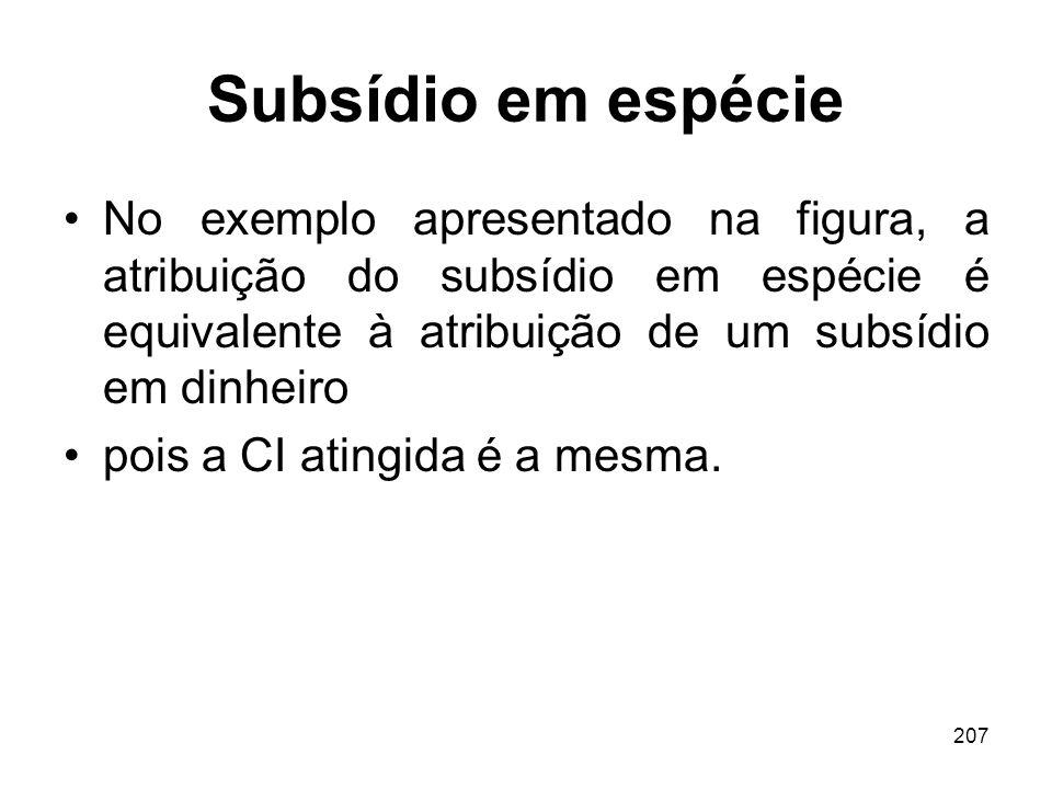 207 Subsídio em espécie No exemplo apresentado na figura, a atribuição do subsídio em espécie é equivalente à atribuição de um subsídio em dinheiro po