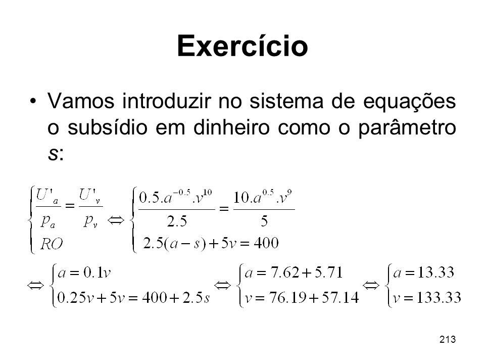 213 Exercício Vamos introduzir no sistema de equações o subsídio em dinheiro como o parâmetro s: