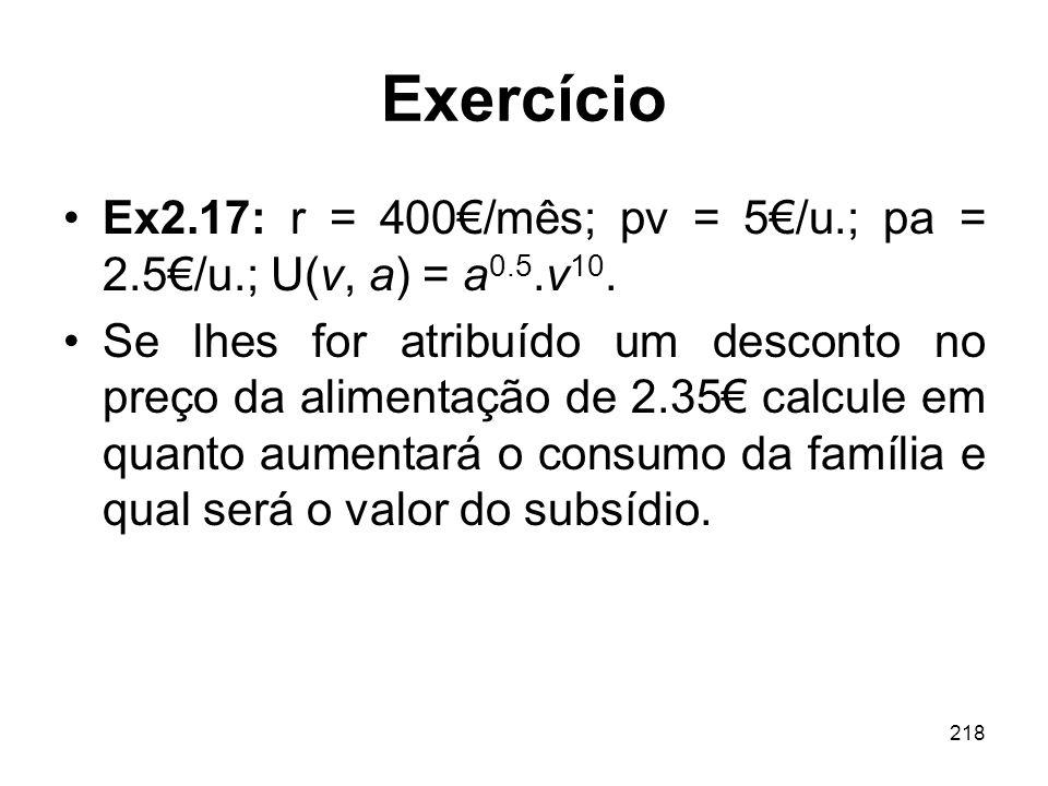 218 Exercício Ex2.17: r = 400/mês; pv = 5/u.; pa = 2.5/u.; U(v, a) = a 0.5.v 10. Se lhes for atribuído um desconto no preço da alimentação de 2.35 cal