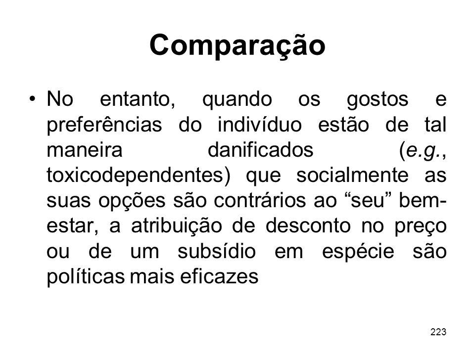 223 Comparação No entanto, quando os gostos e preferências do indivíduo estão de tal maneira danificados (e.g., toxicodependentes) que socialmente as