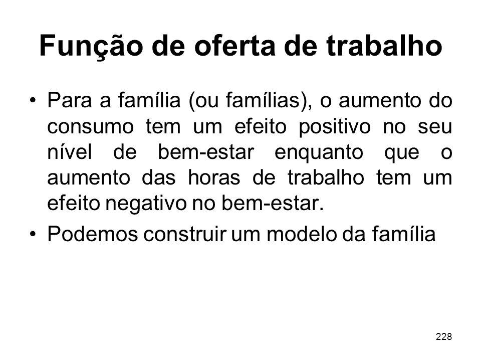 228 Função de oferta de trabalho Para a família (ou famílias), o aumento do consumo tem um efeito positivo no seu nível de bem-estar enquanto que o au