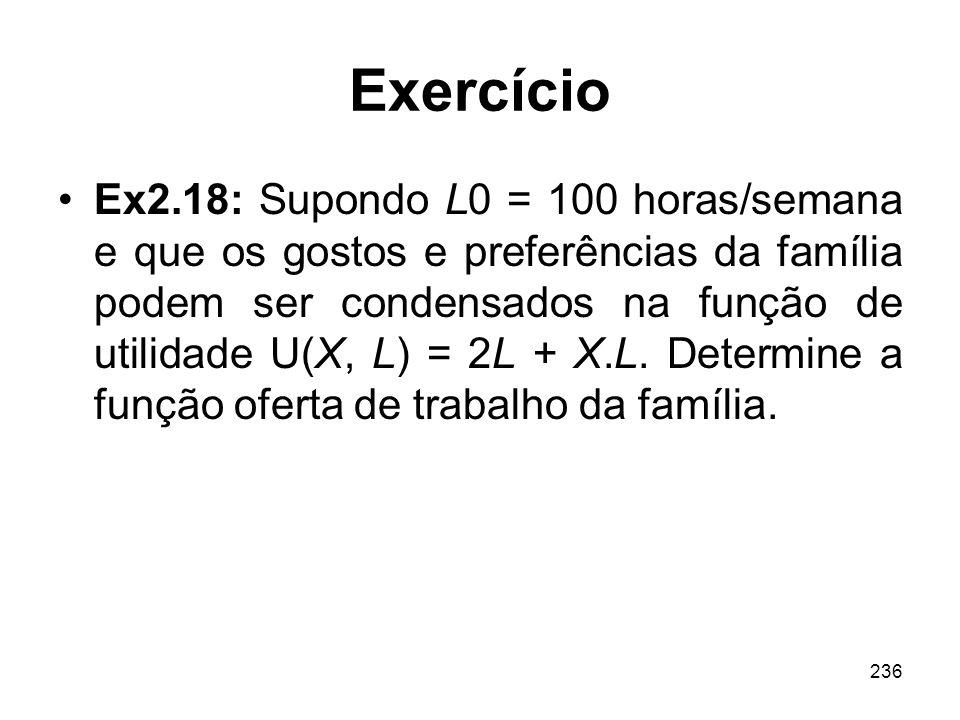 236 Exercício Ex2.18: Supondo L0 = 100 horas/semana e que os gostos e preferências da família podem ser condensados na função de utilidade U(X, L) = 2