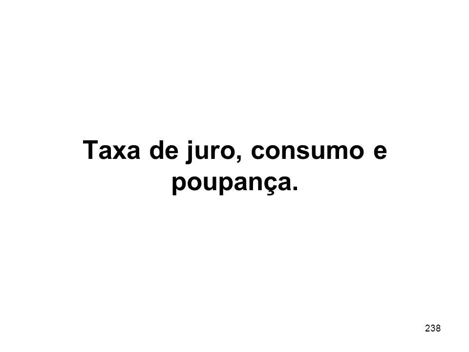 238 Taxa de juro, consumo e poupança.