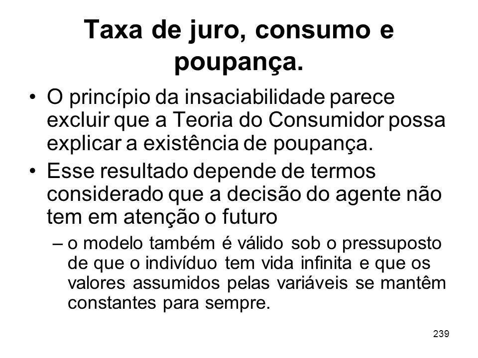 239 Taxa de juro, consumo e poupança. O princípio da insaciabilidade parece excluir que a Teoria do Consumidor possa explicar a existência de poupança