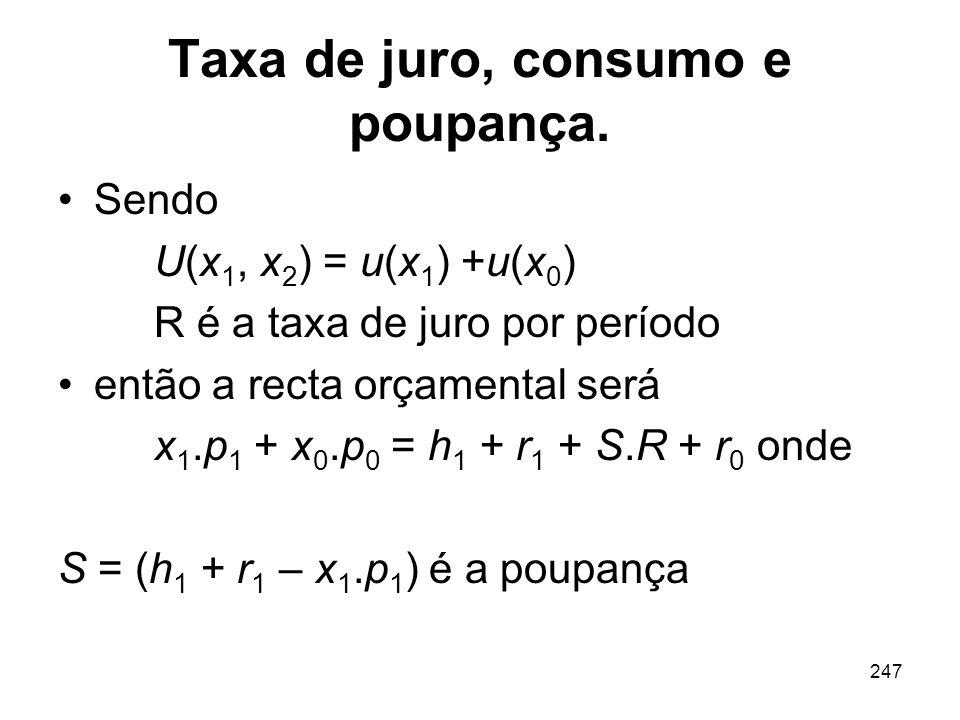 247 Taxa de juro, consumo e poupança. Sendo U(x 1, x 2 ) = u(x 1 ) +u(x 0 ) R é a taxa de juro por período então a recta orçamental será x 1.p 1 + x 0