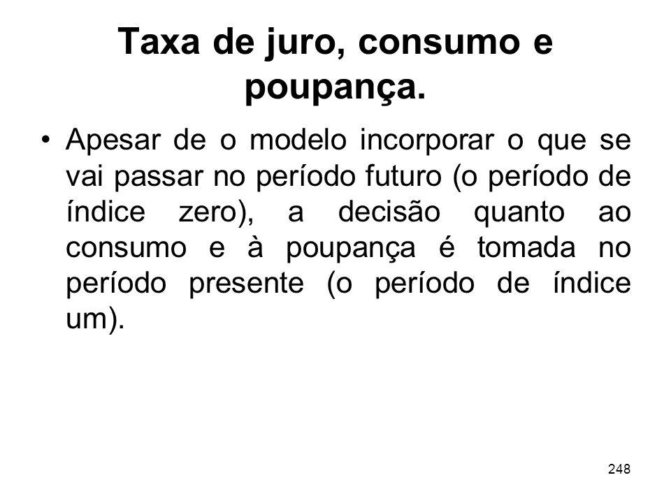 248 Taxa de juro, consumo e poupança. Apesar de o modelo incorporar o que se vai passar no período futuro (o período de índice zero), a decisão quanto
