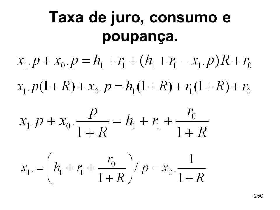 250 Taxa de juro, consumo e poupança.