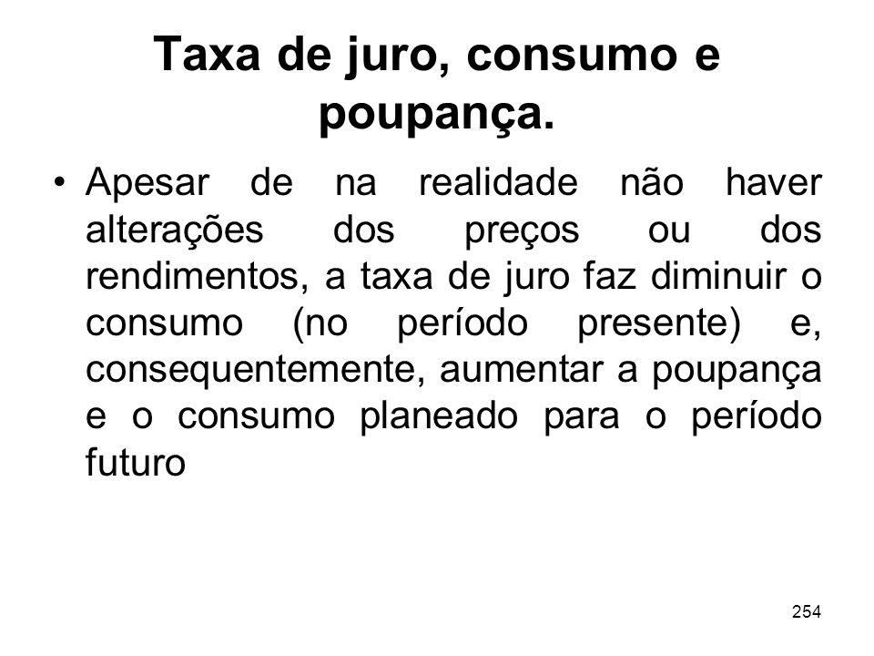 254 Taxa de juro, consumo e poupança. Apesar de na realidade não haver alterações dos preços ou dos rendimentos, a taxa de juro faz diminuir o consumo