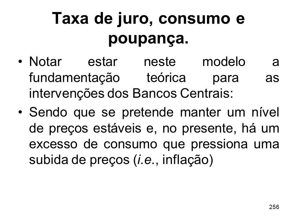 256 Taxa de juro, consumo e poupança. Notar estar neste modelo a fundamentação teórica para as intervenções dos Bancos Centrais: Sendo que se pretende