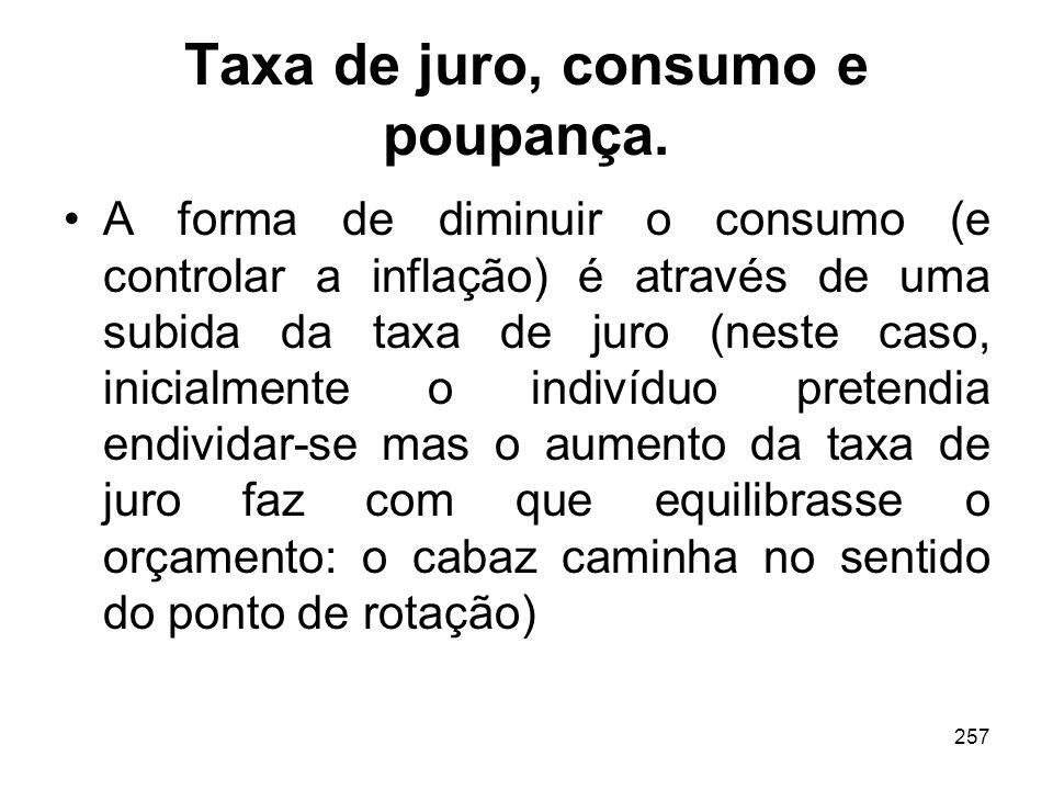 257 Taxa de juro, consumo e poupança. A forma de diminuir o consumo (e controlar a inflação) é através de uma subida da taxa de juro (neste caso, inic
