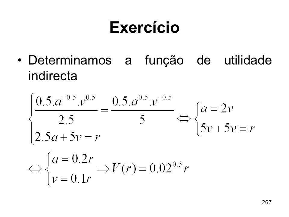 267 Exercício Determinamos a função de utilidade indirecta