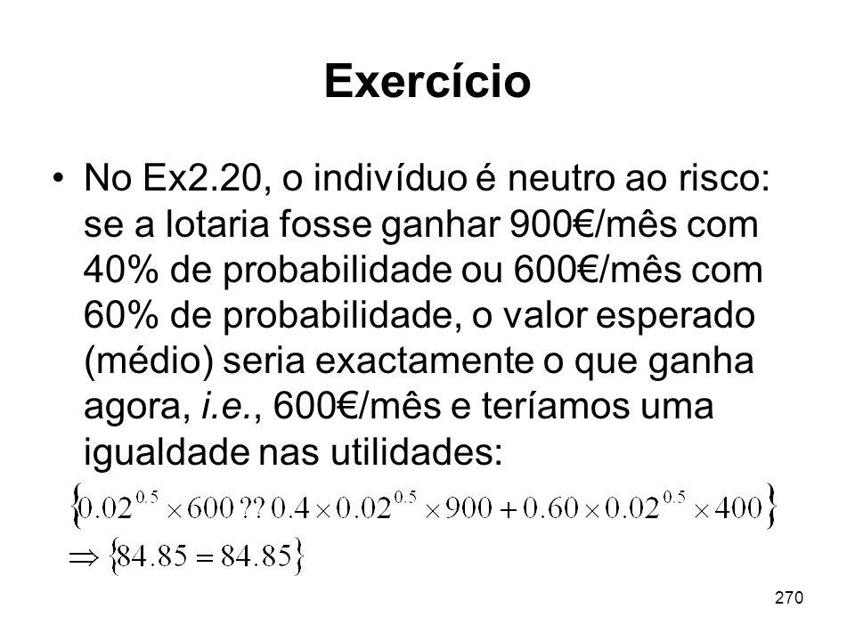 270 Exercício No Ex2.20, o indivíduo é neutro ao risco: se a lotaria fosse ganhar 900/mês com 40% de probabilidade ou 600/mês com 60% de probabilidade