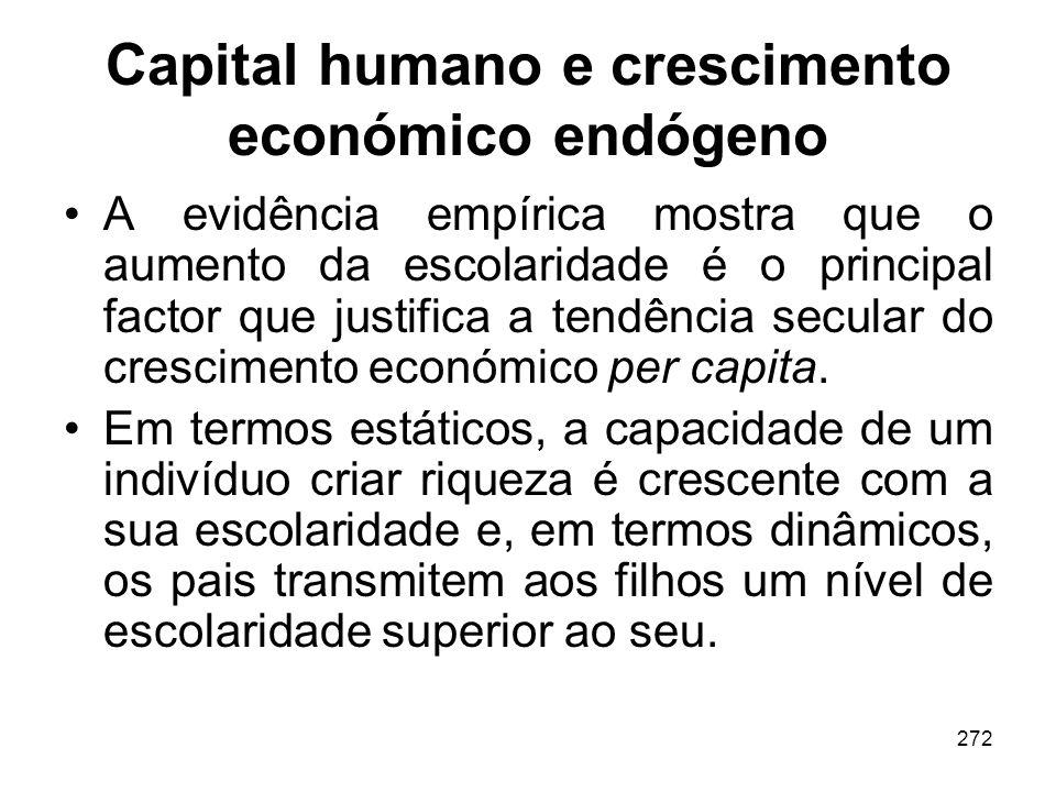 272 Capital humano e crescimento económico endógeno A evidência empírica mostra que o aumento da escolaridade é o principal factor que justifica a ten