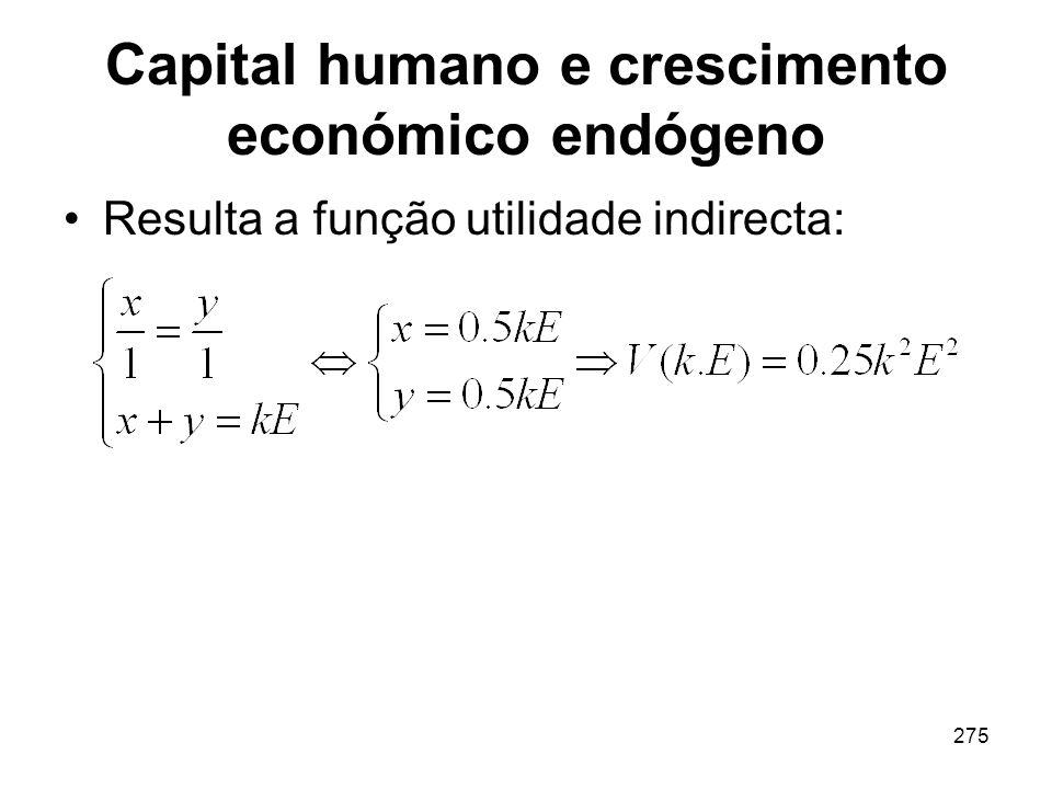 275 Capital humano e crescimento económico endógeno Resulta a função utilidade indirecta: