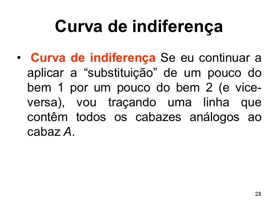 28 Curva de indiferença Curva de indiferença Se eu continuar a aplicar a substituição de um pouco do bem 1 por um pouco do bem 2 (e vice- versa), vou