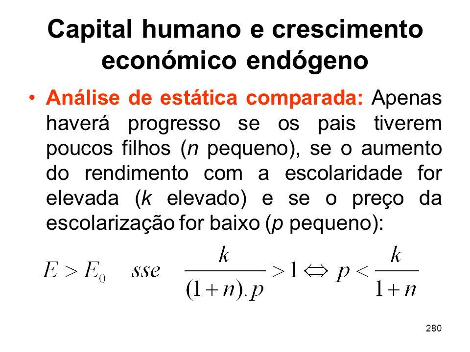 280 Capital humano e crescimento económico endógeno Análise de estática comparada: Apenas haverá progresso se os pais tiverem poucos filhos (n pequeno