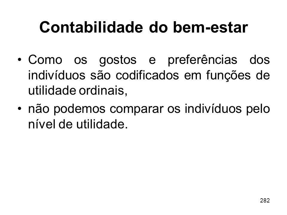 282 Contabilidade do bem-estar Como os gostos e preferências dos indivíduos são codificados em funções de utilidade ordinais, não podemos comparar os