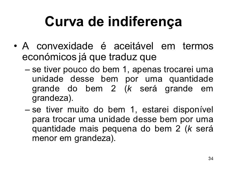 34 Curva de indiferença A convexidade é aceitável em termos económicos já que traduz que –se tiver pouco do bem 1, apenas trocarei uma unidade desse b