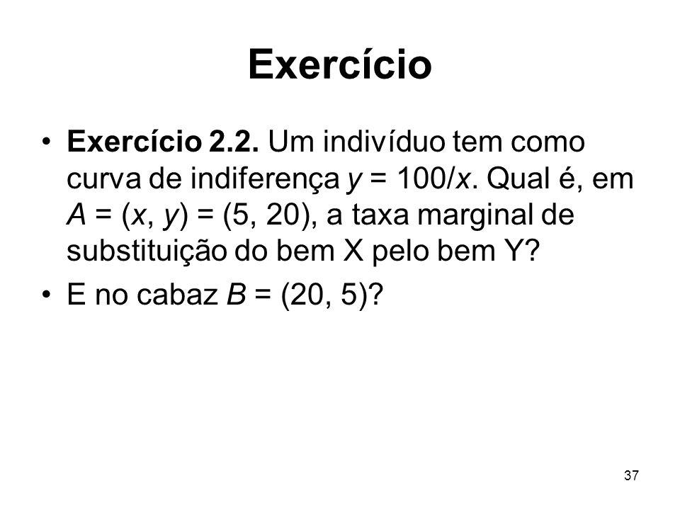 37 Exercício Exercício 2.2. Um indivíduo tem como curva de indiferença y = 100/x. Qual é, em A = (x, y) = (5, 20), a taxa marginal de substituição do