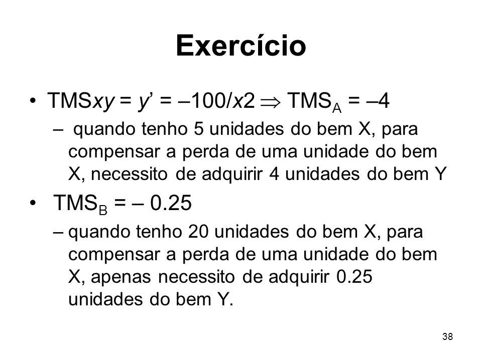 38 Exercício TMSxy = y = –100/x2 TMS A = –4 – quando tenho 5 unidades do bem X, para compensar a perda de uma unidade do bem X, necessito de adquirir