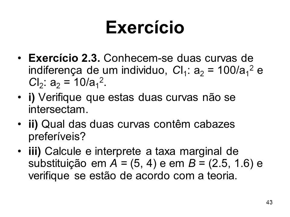 43 Exercício Exercício 2.3. Conhecem-se duas curvas de indiferença de um individuo, CI 1 : a 2 = 100/a 1 2 e CI 2 : a 2 = 10/a 1 2. i) Verifique que e