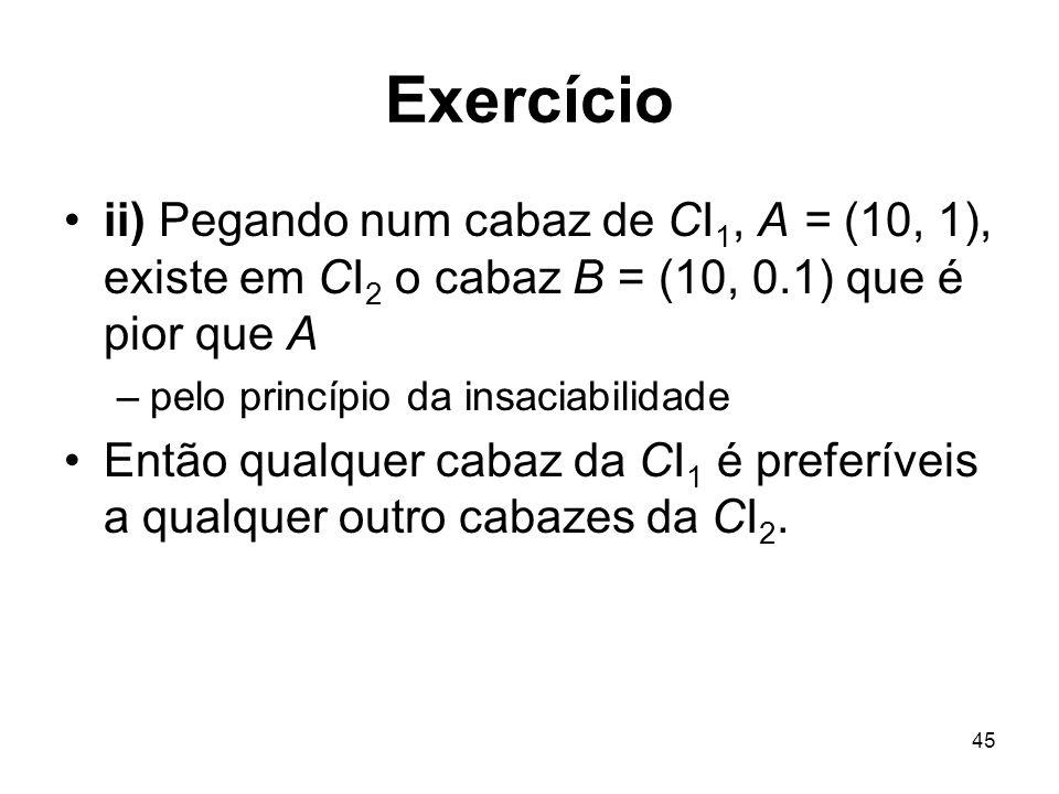 45 Exercício ii) Pegando num cabaz de CI 1, A = (10, 1), existe em CI 2 o cabaz B = (10, 0.1) que é pior que A –pelo princípio da insaciabilidade Entã