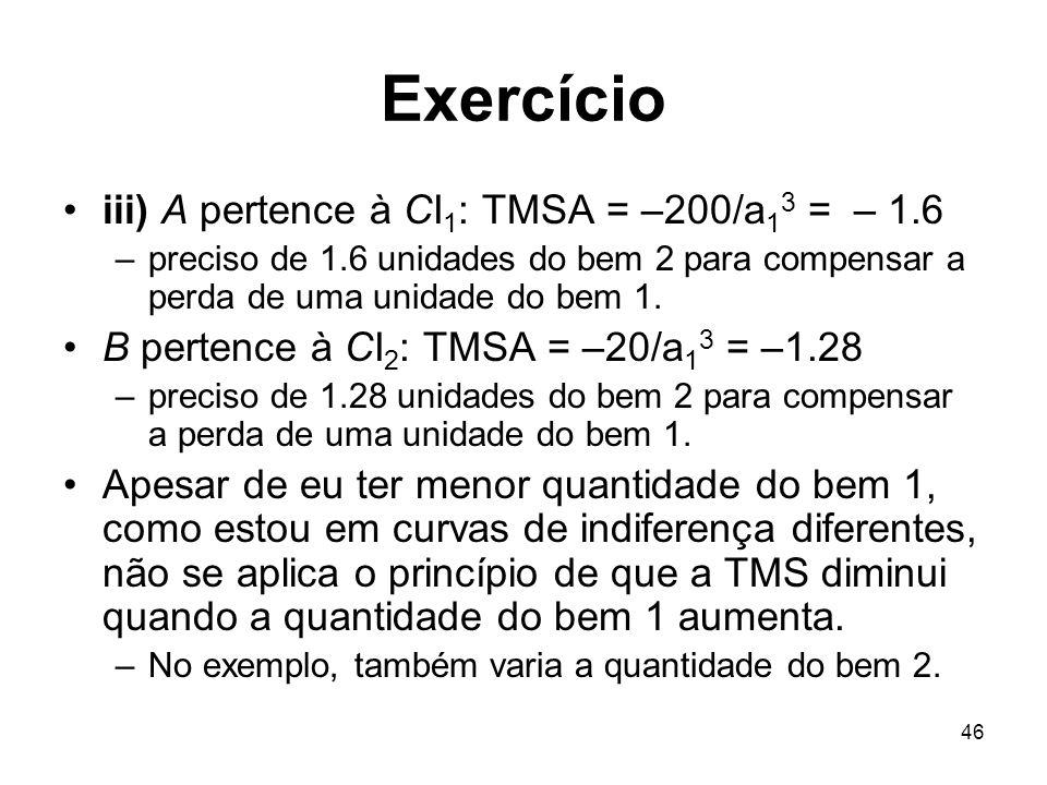 46 Exercício iii) A pertence à CI 1 : TMSA = –200/a 1 3 = – 1.6 –preciso de 1.6 unidades do bem 2 para compensar a perda de uma unidade do bem 1. B pe