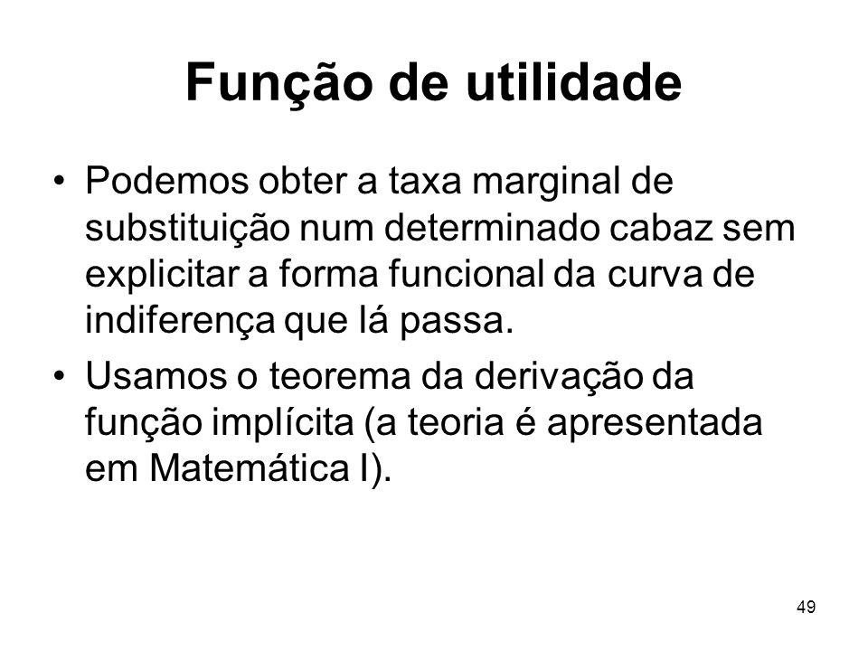 49 Função de utilidade Podemos obter a taxa marginal de substituição num determinado cabaz sem explicitar a forma funcional da curva de indiferença qu
