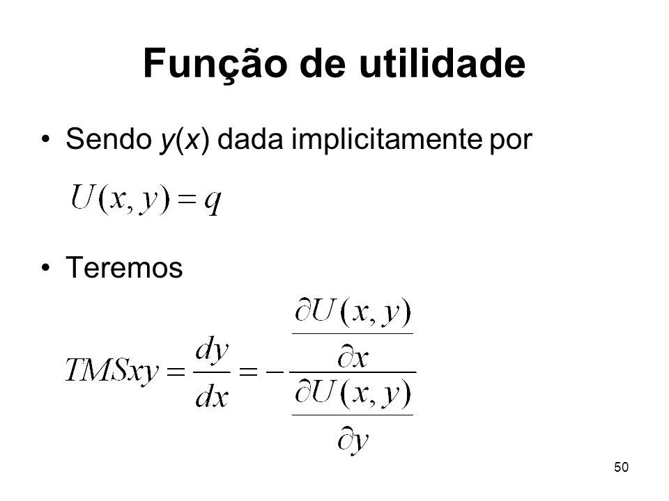 50 Função de utilidade Sendo y(x) dada implicitamente por Teremos