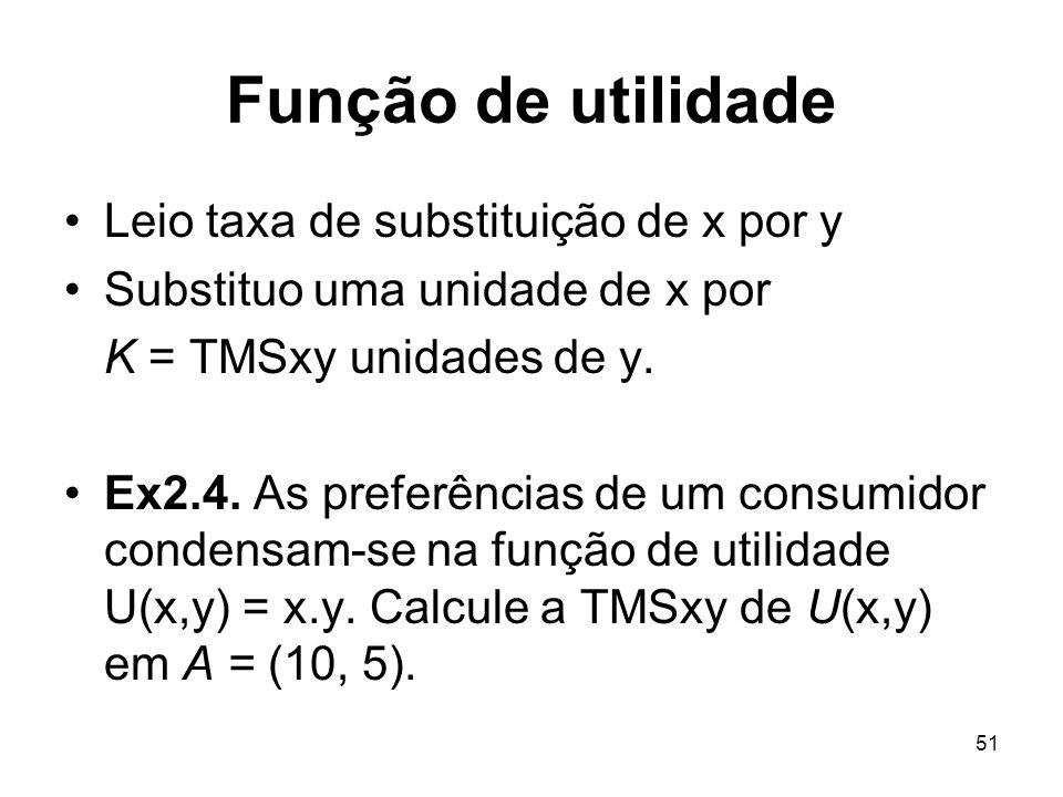 51 Função de utilidade Leio taxa de substituição de x por y Substituo uma unidade de x por K = TMSxy unidades de y. Ex2.4. As preferências de um consu