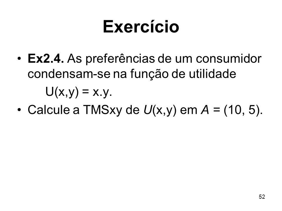 52 Exercício Ex2.4. As preferências de um consumidor condensam-se na função de utilidade U(x,y) = x.y. Calcule a TMSxy de U(x,y) em A = (10, 5).