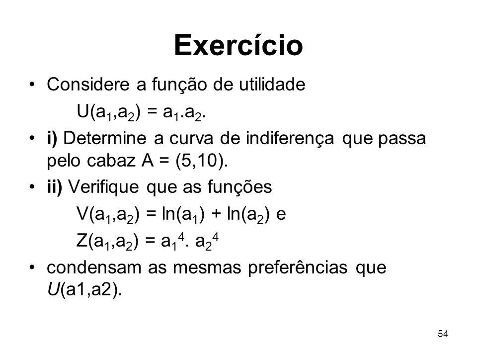 54 Exercício Considere a função de utilidade U(a 1,a 2 ) = a 1.a 2. i) Determine a curva de indiferença que passa pelo cabaz A = (5,10). ii) Verifique