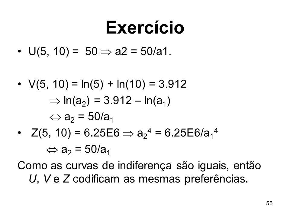 55 Exercício U(5, 10) = 50 a2 = 50/a1. V(5, 10) = ln(5) + ln(10) = 3.912 ln(a 2 ) = 3.912 – ln(a 1 ) a 2 = 50/a 1 Z(5, 10) = 6.25E6 a 2 4 = 6.25E6/a 1