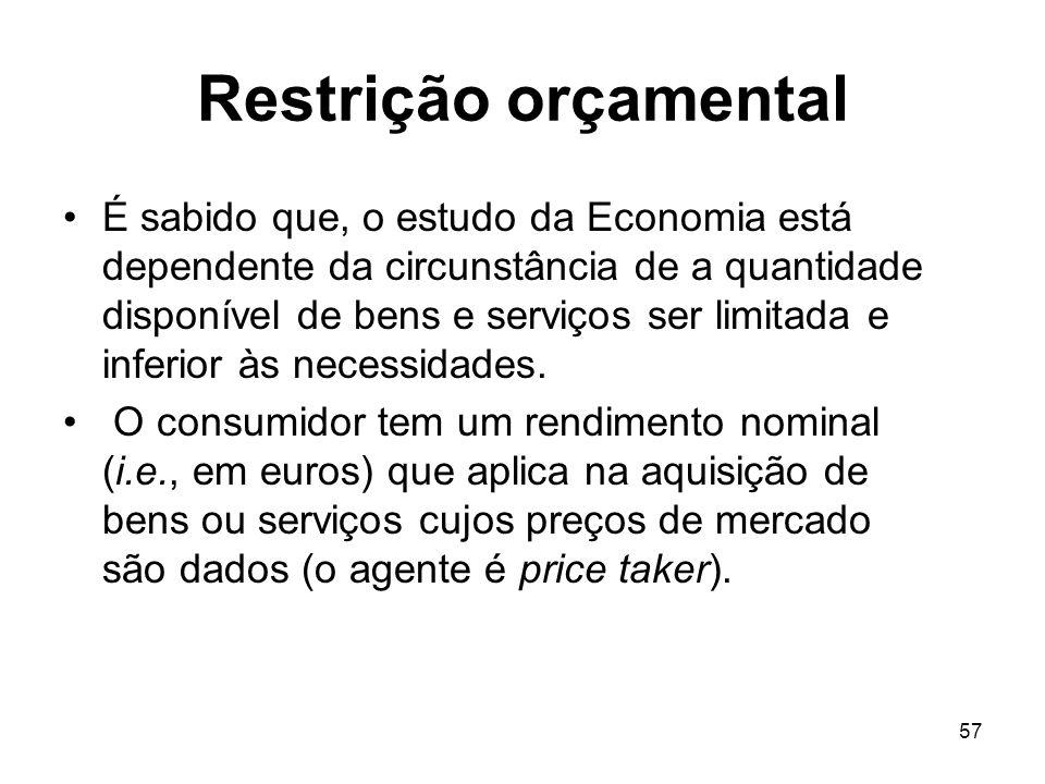 57 Restrição orçamental É sabido que, o estudo da Economia está dependente da circunstância de a quantidade disponível de bens e serviços ser limitada