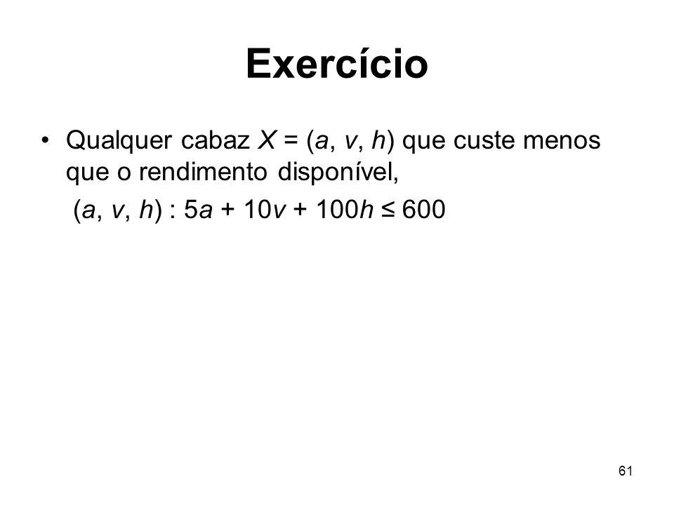 61 Exercício Qualquer cabaz X = (a, v, h) que custe menos que o rendimento disponível, (a, v, h) : 5a + 10v + 100h 600