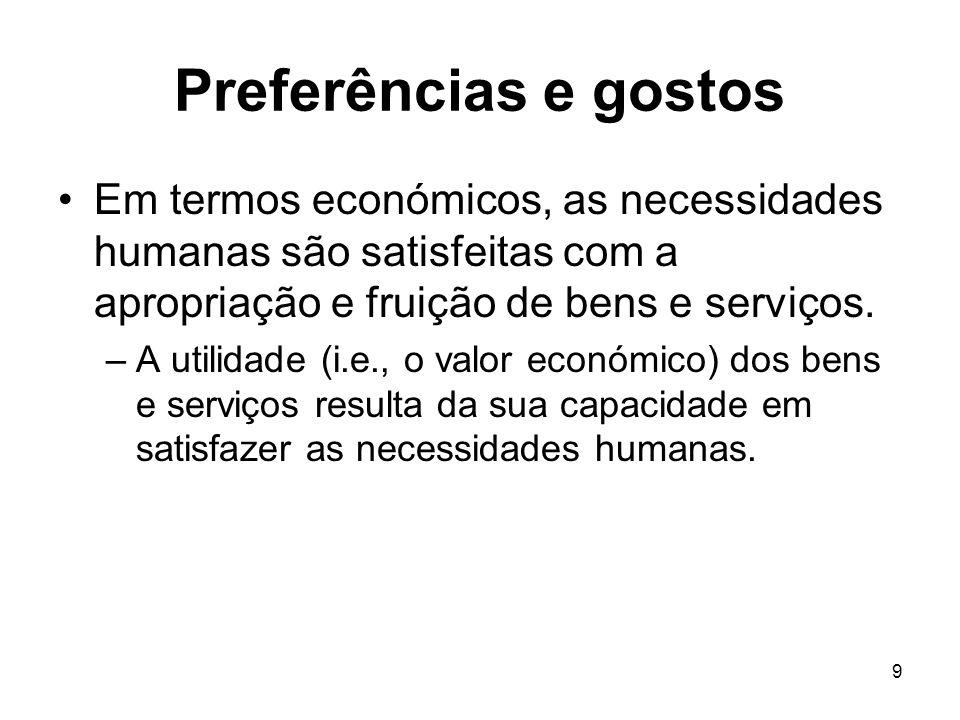 9 Preferências e gostos Em termos económicos, as necessidades humanas são satisfeitas com a apropriação e fruição de bens e serviços. –A utilidade (i.