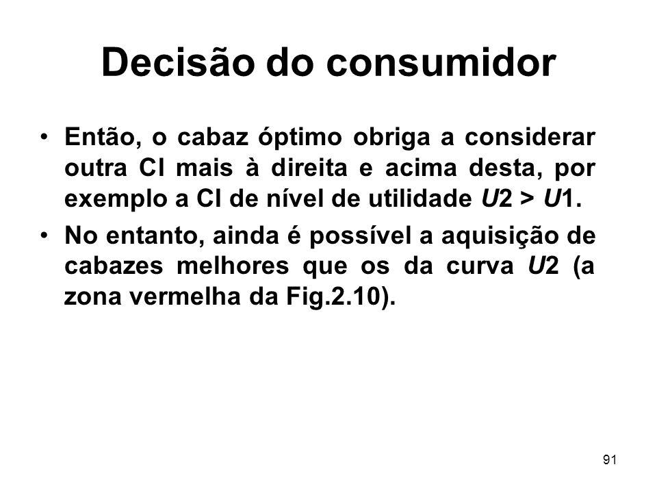 91 Decisão do consumidor Então, o cabaz óptimo obriga a considerar outra CI mais à direita e acima desta, por exemplo a CI de nível de utilidade U2 >