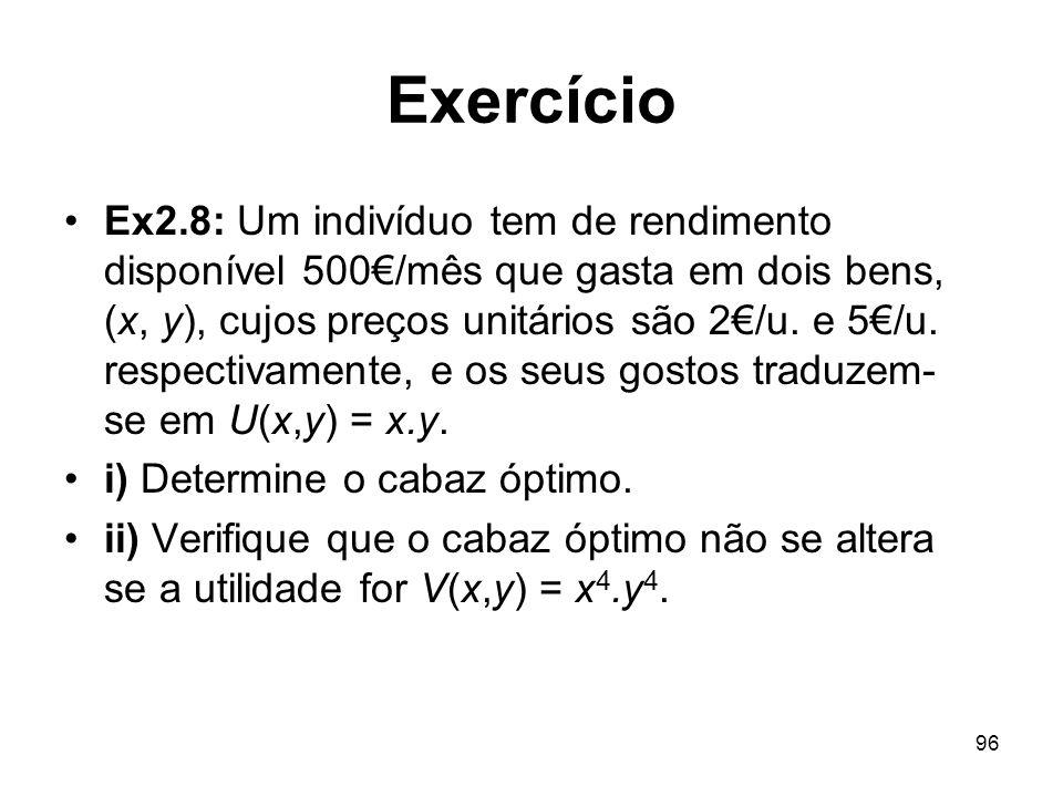 96 Exercício Ex2.8: Um indivíduo tem de rendimento disponível 500/mês que gasta em dois bens, (x, y), cujos preços unitários são 2/u. e 5/u. respectiv
