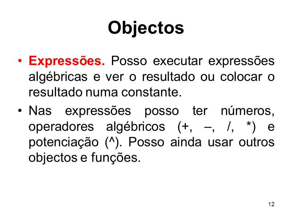12 Objectos Expressões.