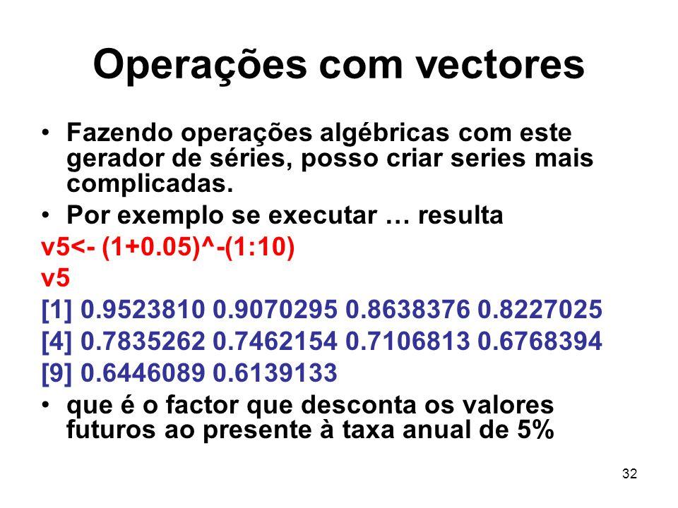 32 Operações com vectores Fazendo operações algébricas com este gerador de séries, posso criar series mais complicadas.