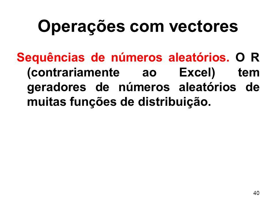 40 Operações com vectores Sequências de números aleatórios.