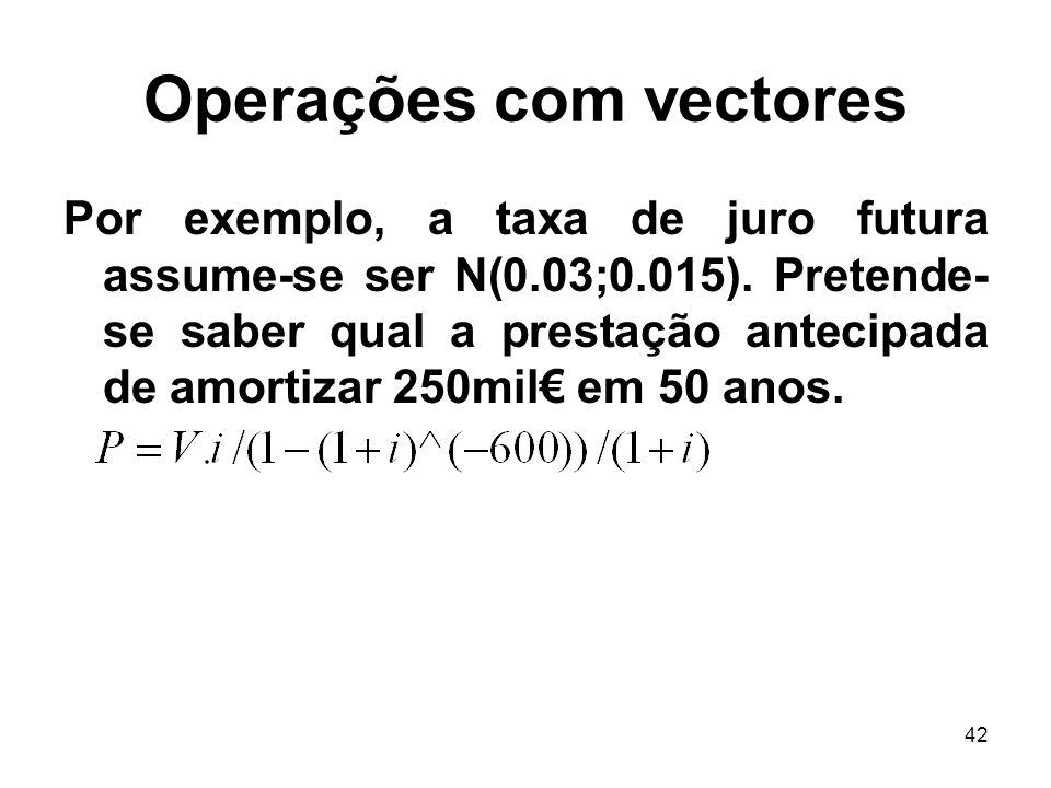 42 Operações com vectores Por exemplo, a taxa de juro futura assume-se ser N(0.03;0.015).