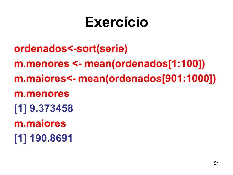 54 Exercício ordenados<-sort(serie) m.menores <- mean(ordenados[1:100]) m.maiores<- mean(ordenados[901:1000]) m.menores [1] 9.373458 m.maiores [1] 190.8691