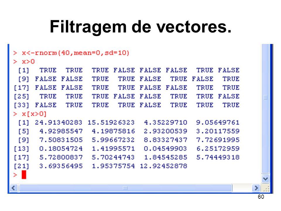 60 Filtragem de vectores.