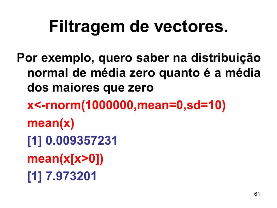 61 Filtragem de vectores.
