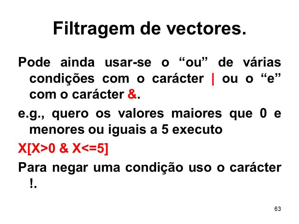 63 Filtragem de vectores.