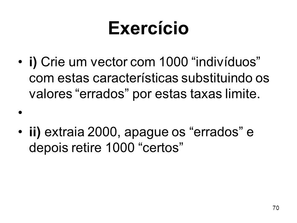 70 Exercício i) Crie um vector com 1000 indivíduos com estas características substituindo os valores errados por estas taxas limite.