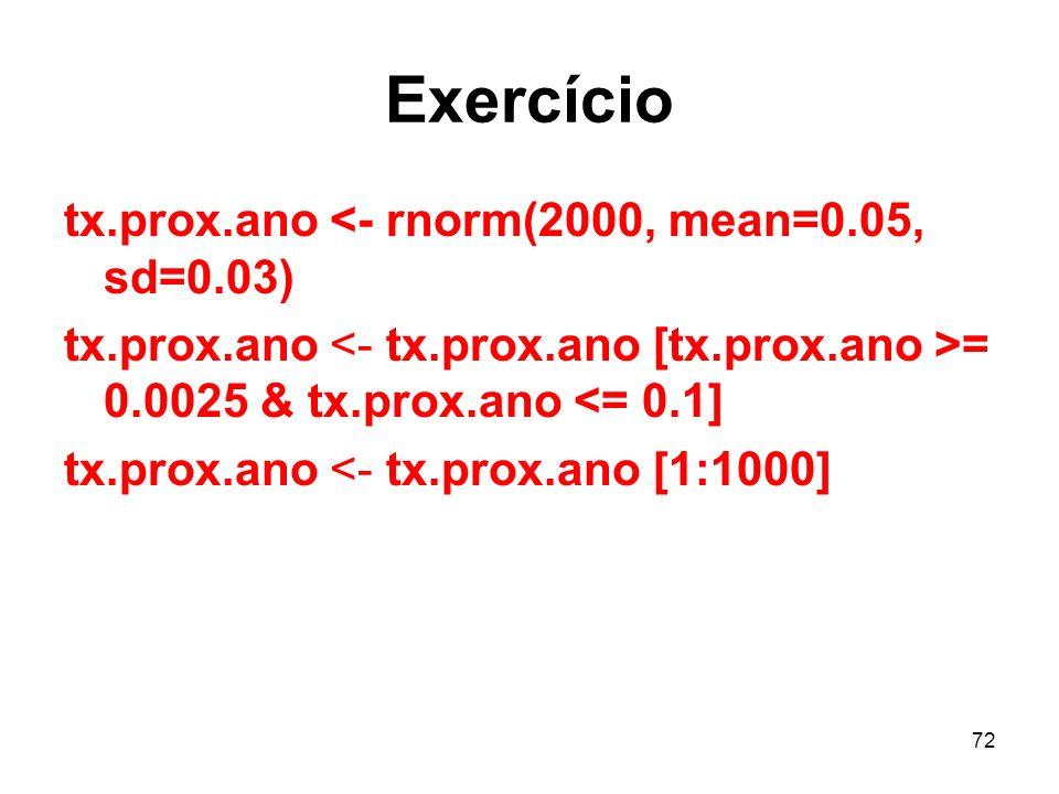 72 Exercício tx.prox.ano <- rnorm(2000, mean=0.05, sd=0.03) tx.prox.ano = 0.0025 & tx.prox.ano <= 0.1] tx.prox.ano <- tx.prox.ano [1:1000]