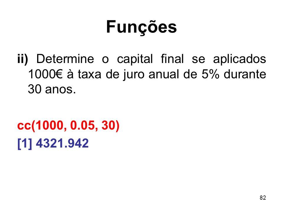 82 Funções ii) Determine o capital final se aplicados 1000 à taxa de juro anual de 5% durante 30 anos.